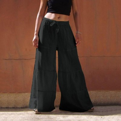 Casual Pants Cotton And Linen 2021 Loose Solid Color Wide Leg Pants Elastic Waist Trousers Women Spring And Autumn Plus Size