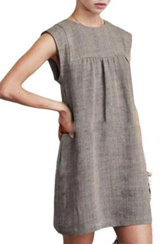Fashion 2021 New Summer Loose Women'S Casual Cotton Linen Solid Color Dress