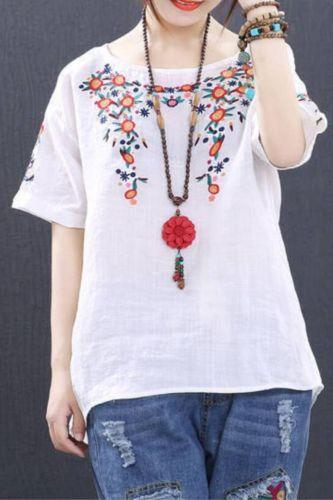 Plus size Women Blouse 100% Cotton Blouse Ladies Loose Summer Tops Embroidery Ladies Vinatge Short sleeve Casual White 4XL