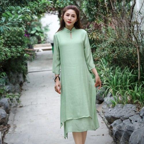 Cotton Linen Women dress New Summer Dresses Green White