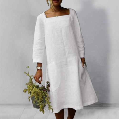 2021  Express  Europe And America Sell New Pure Color Women's Pocket Cotton Linen Casual Dress