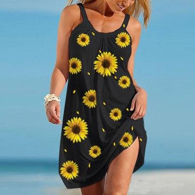 Women Sunflower Printed Loose Mini Dress Beach Dress Female Summer Cotton Plus Size Casual Sleeveless Dress