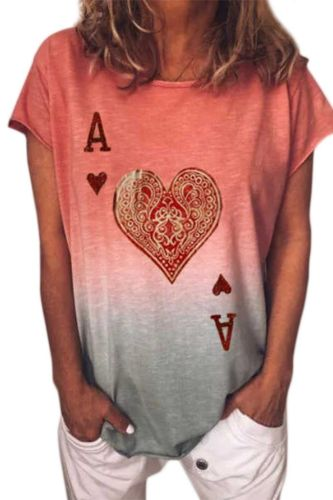 Women's Valentine's Day Unique Heart-Shaped T-Shirt Hearts Short Sleeves Round Neck Sweatshirt H9