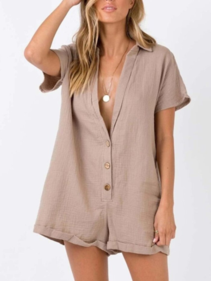 Maternity Solid Single Breasted Cotton Short Sleeve Jumpsuit Large Casual Women's Wear