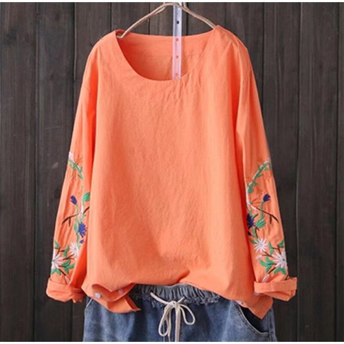 2021 Spring And Summer Loose Top Shirt Women Cotton Linen Embroidered Long-Sleeved Blouse Women'S O-Neck Ladies Shirt