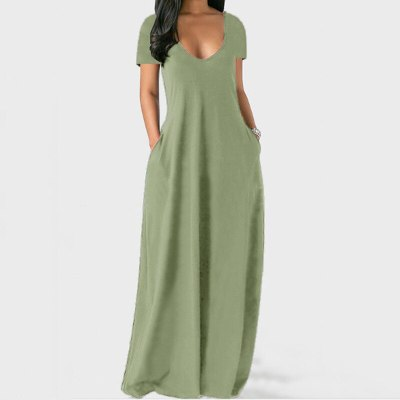 Plus Size Deep V-neck Sexy Short Sleeve Long Dress Wome Solid Color Casual Loose Pockets Decor Fashion Holiday Robe Maxi Vestido