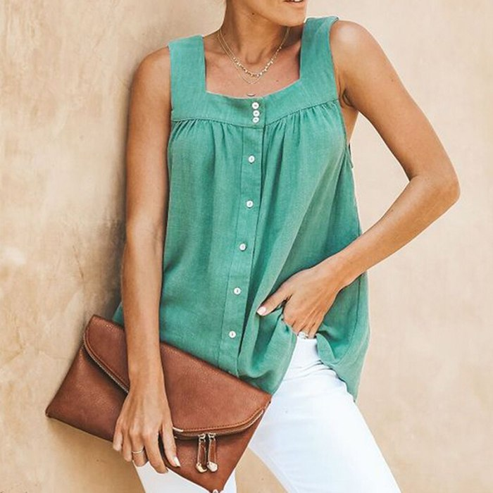 Women Square Collar Cotton and Linen Vest Tops 2021 Spring V Neck pullover Knitted Vest Single Breasted Autumn 2021 Solid Blouse
