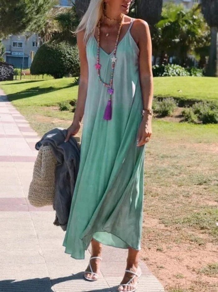 Boho Long V-neck Dress for Women Bohemian Style Women's Beach Dresses Casual Sleeveless Printed Maxi Tank Color Gradient Dress