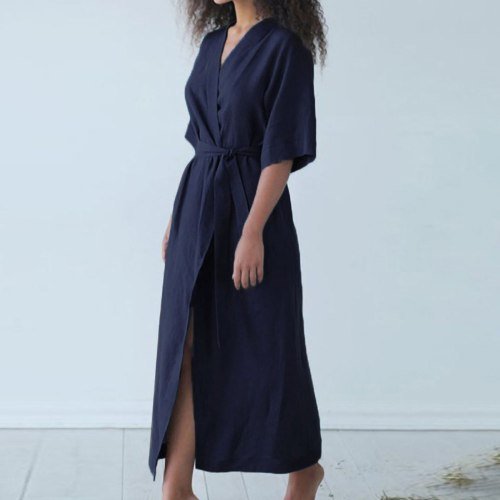 Women's Cotton Linen Solid Dress V-Neck Short Sleeve Sashes Bathrobe Style Lace Up Cardigan Long Dress Summer Loose Vestidos