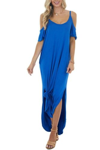 Summer Womens Casual Loose Pocket Long Dress Off Shoulder Short Sleeve Split Maxi Dress Dresses for Women robe femme vestidos
