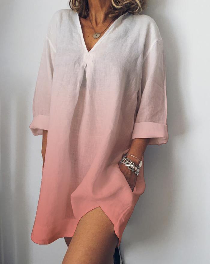 Women Autumn long Sleeve Cotton Linen Dress Vestido Robe Kaftan Femme Casual Plus Size V neck Gradient Printed Party Sundress