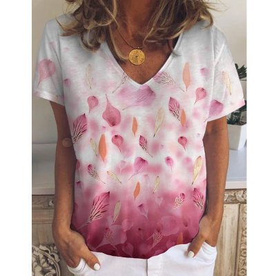 Summer Women's 90s Shirt Leaf Flower Print Casual Loose V-Neck Short Sleeve T-Shirt Vintage Plus Size Fashion Tee Top Cloting