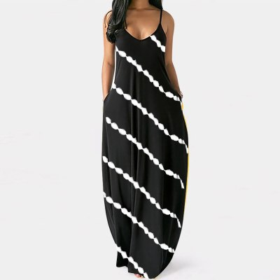 4# Women Dress 2021 Striped Print Casual Plus Size V-neck Pockets Camisole Long Dress Retro Loose Bohemian Robe Longue Dress