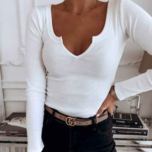 Winter Autumn Women Tshirts Pullover Top Tees Long Sleeve Black White Solid Tee T-shirts Women Sexy Bodycon Knitted Tshirt G2190