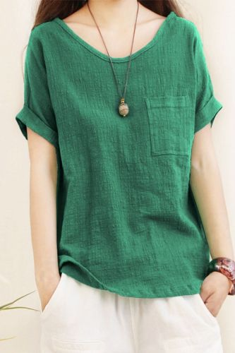 Loose Cotton Linen Blouse Plus Size 5XL Blouses Women 2021 Summer Shirts Casual Short Sleeve O Neck Solid Shirt Lady Tops