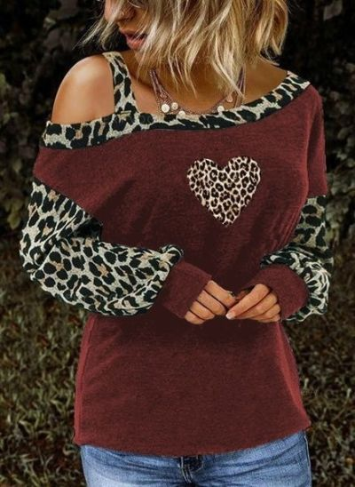 2021 Summer Sexy  Cotton Spring Women Plus Sizes Large Colors Leopard Big Loose Vintage Fashion T Shirts Tops Full Long Sleeve
