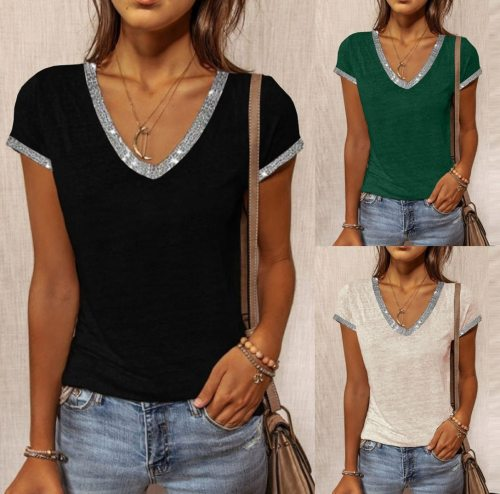 Summer Fashion Women's V-neck Solid Color Slim Short-sleeved T-shirt Casual and Comfortable T-shirt Female Plus Size S-5XL