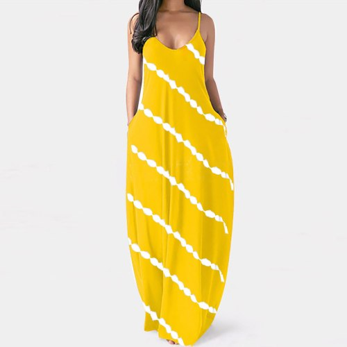 4# Women Dress 2021 Striped Print Casual Plus Size V-neck Pockets Camisole Long Dress Retro Loose Bohemian Robe Longue Dress