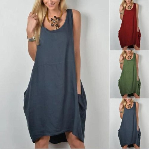 loose Dress Sleeveless Elegant Empire O-neck tank dresses woman summer fashion solid pockets cloth Women Basic Vestidos AC0578
