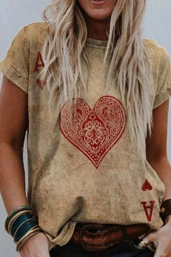 Women Summer T Shirt Vintage Valentines Day Heart Print Short Sleeve Tees Casual Flower Printed Shaped Faded Pullover Tops