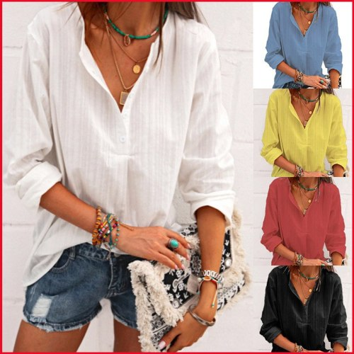 Spring V Neck Solid Shirts Women Casual Long Sleeve Loose Button Tunic Office Lady Tops Minimalist Blusa Feminina Clothing
