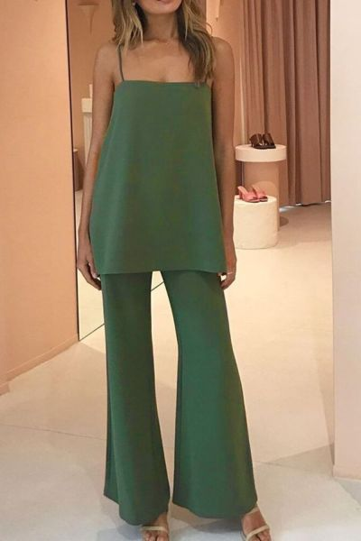 2021 New Product Fashion Sexy Solid Color Simple Suit Suspender Top Plus + Flared Pants Women