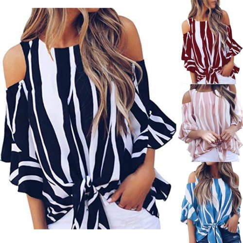Fashion Women Cold Off Shoulder Stripe Loose Tops Butterfly Short Sleeve O Neck Summer Autumn Casual Baggy Tie Knot Blouse Shirt