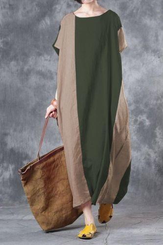 Casual Long Dress 2021 Fashion Orange Patchwork Loose Elegant Maxi Dress Summer Plus Size Short Sleeve O Neck Dress Vestidos