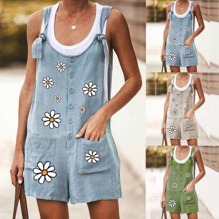 Vintage Women Romper Summer Loose Floral Print Sleeveless Strap Jumpsuit Wide Leg Linen Bodysuit Female Casual Trousers Overalls