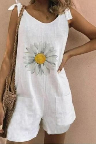 2021 Daisy Print Linen Cotton Jumpsuit Bodysuit Women V Neck Lace Up Jumpsuits Summer Sleeveless Elegant Playsuit Romper Shorts