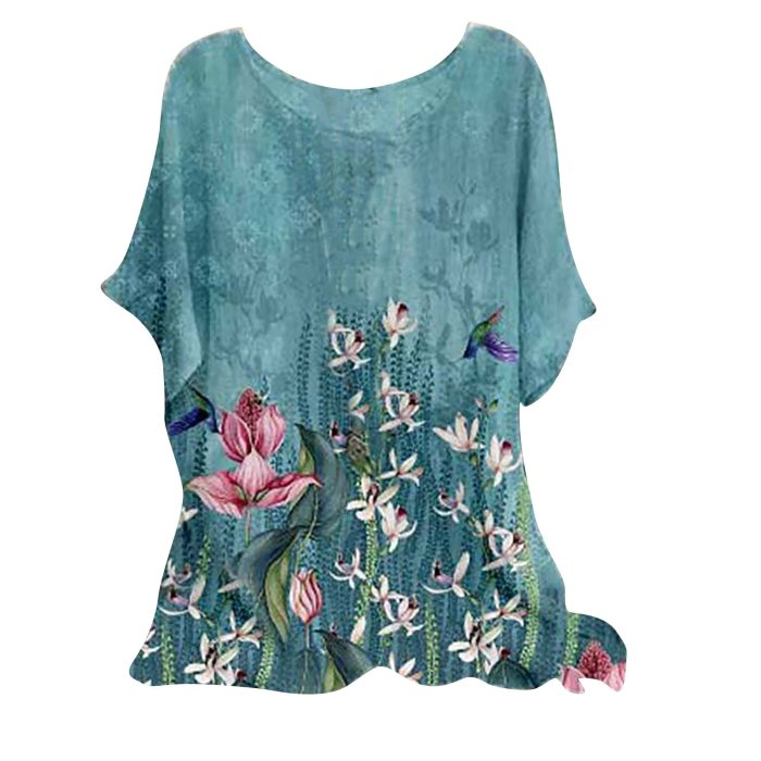 Fashion Summer Tops For Women 2021 Woman Vintage Cotton-blend O-neck Short Sleeve Floral Print Top T-shirts