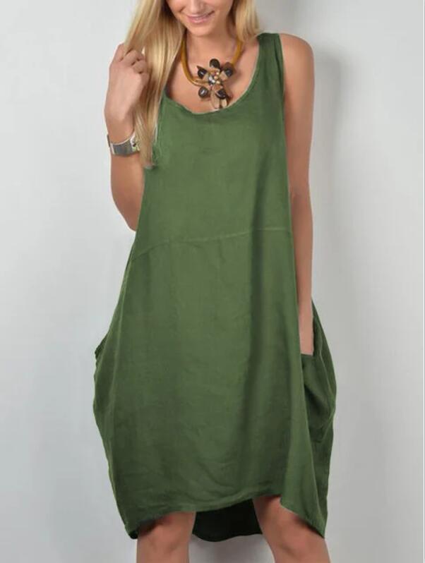 loose Dress Sleeveless Elegant Empire O-neck tank dresses woman summer fashion solid pockets cloth Women Basic Vestidos AC0578