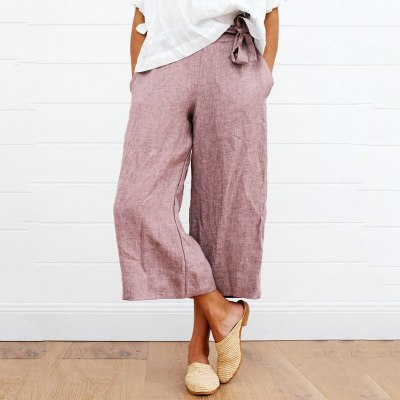 2021 Women's Tie Cotton And Linen Wide Leg Pants Female Pure Color Summer Drawstring Loose Cropped Casual Calf-Length Trousers