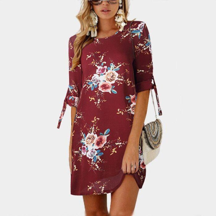 Women Chiffon Dress Summer Boho Beach Dress 2021 Casual O-Neck 3/4 Sleeve Mini Dress Vintage Floral Print Party Dresses