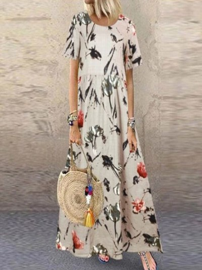 2021 Hot Female Fashion Summer Maxi Printed Sundress Casual Short Sleeve High Waist Dress Plus Size