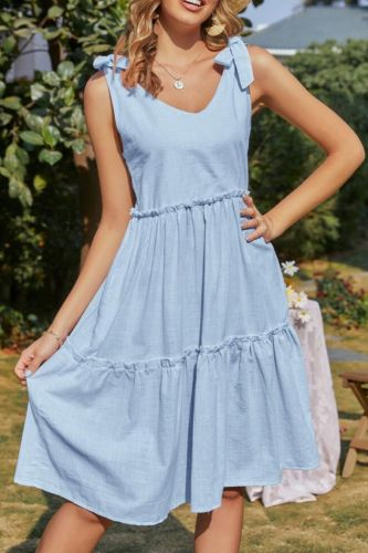 2021 Women Summer Tie Bow Dress Holiday Solid Ruched Backless Sleeveless Ruffle Beach