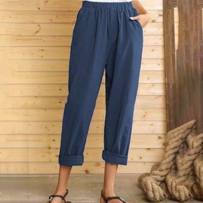Women Summer Pants Casual Pure Color Elastic Waist Linen Pockets Ankle Pants Hight Waist Pants Fashion Clothing New 2021