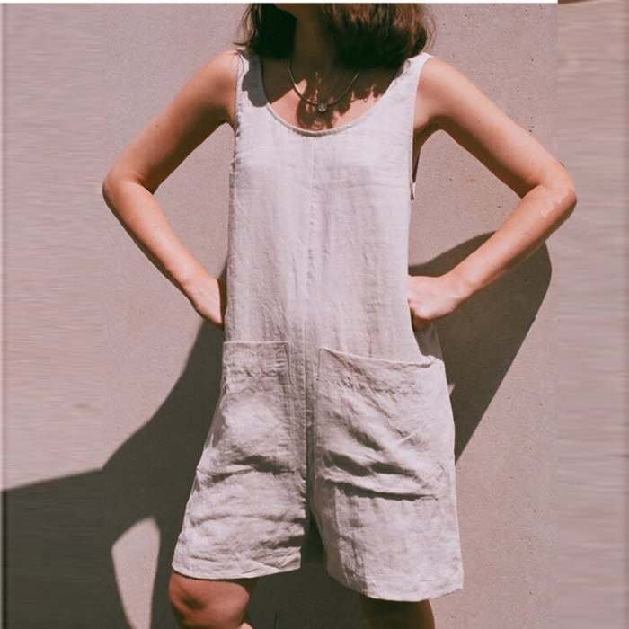 2021 New Summer Women Playsuit Fashion Solid Color Boho Casual Pocket Sleeveless Short Jumpsuit Cotton Linen Beach Rompers Lady