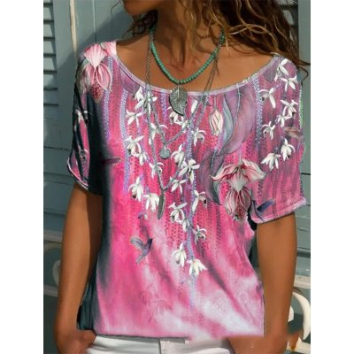 Summer Women's Multicolor Printing Short-sleeved Women's T-shirt Loose Casual Hedging O-neck Fashion Trend Tops Shirt Plus Size