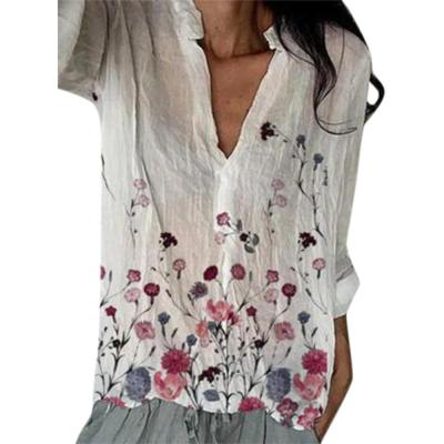 Plus Sizes Womens Tops Floral Printed White Button Long Sleeves V Collar Loose Long Shirts Vintage Ladies Top Clothing Fall