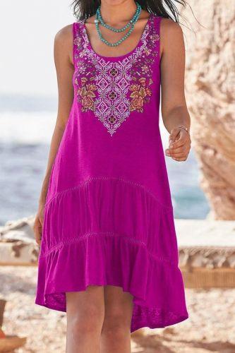 Plus Size Women's Summer New Embroidered Sleeveless Big Swing Vest Stitching Dress