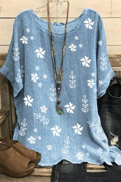 Daisy Print O Neck Women Blouses Summer 2020 Cotton Linen Loose Short Sleeve Shirt Women Elegant Plus Size Tops Blusas Feminina