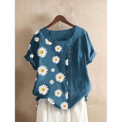 Summer women's flax shirt daisy Floral print O-Neck Short Sleeve women blouses 5xl plus size blouse loose vintage tops