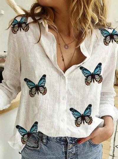 Butterfly Print Cotton Linen Women'S Blouses Autumn Long Sleeve Blouse Shirts Ladies Fashion Sexy V-Neck Plus Size Top