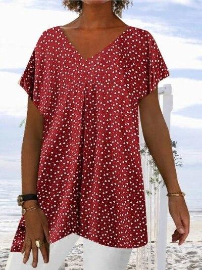 Polka Dot Print women shirts 2021 Summer New Short-Sleeved V-neck Loose long t shirt femme streetwear plus size tee tops