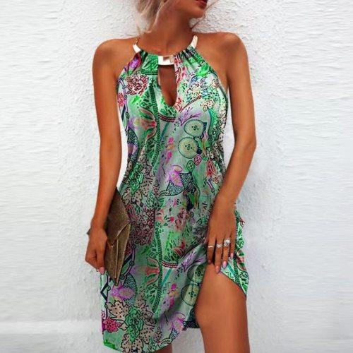 2021 Summer Elegant Floral Print Party Dress Women Vintage Iron Chain Halter Hollow Out Dress Ladies Sexy Sleeveless Beach Dress