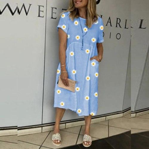 Plus Size Dresses For Women 4xl 5xl 6xl Casual Short Sleeve Daisy Print Shift Dress Large Size Summer Women Dress 2021