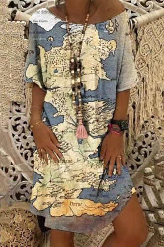 Summer Leopard Map Print Dress Casual Loose Midi Short Sleeve Irregular Women's Dresses Party Elegant Girl Bodycon Clothing