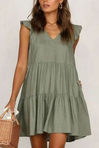 Summer Short Dress Women  Solid Color Stitching V-neck Ruffles Short Sleeve Plus Size Casual A-Line Dress
