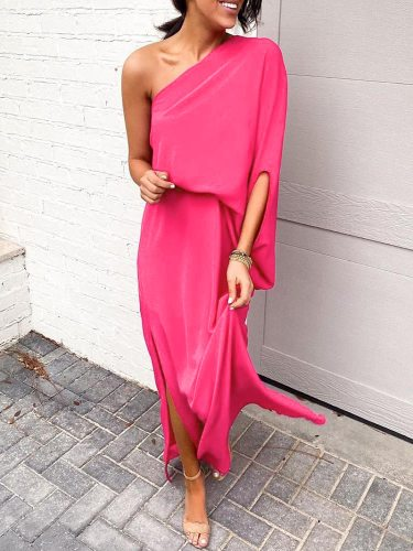 Women 2021 Summer Solid Ruffles Off One Shoulder Dresses Short Sleeve Loose Side Slit Long Maxi Kaftan Dress Slit Dress